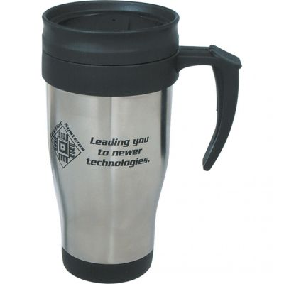 16 Oz. Stainless Steel Travel Mug With Slide Action Lid And Plas