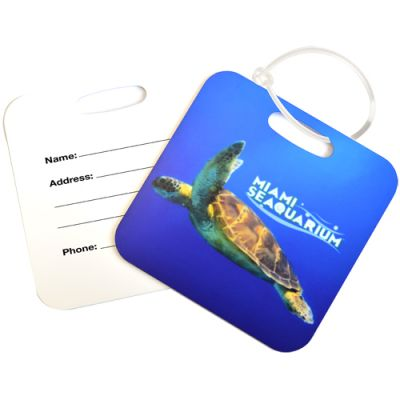 Square Metal Luggage Tags - Full Color