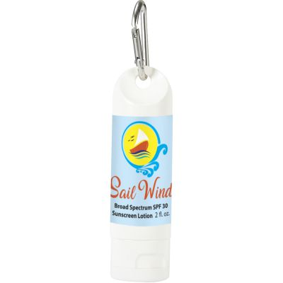 2 Oz. SPF 30 Sunscreen Lotion Carabiner Bottles