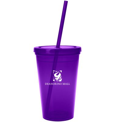 Custom Tumblerss w/ Straw -16 oz Budget Double-Wall