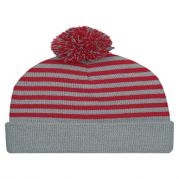 Polar Stripe Pom Beanies With Cuff