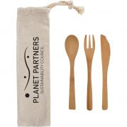Three Piece Bamboo Utensil Set in Travel Pouch