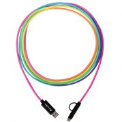 3-In-1 10 Ft. Rainbow Braided Charging Cable