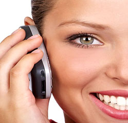 Photo of woman on phone smiling