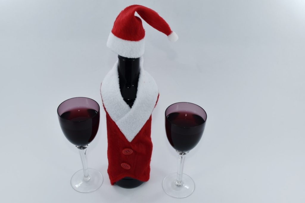 Wine and glasses santa christmas gift