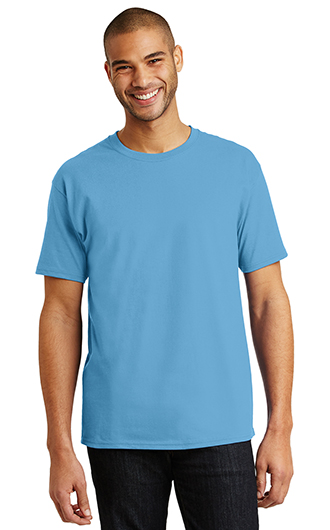 A man wearing a blue t-shirt that's perfect for casual employee apparel