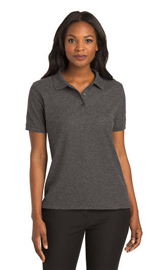 Woman wearing a polo that can be personalized for custom business clothes